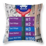 Bus Stop Sign In New York City Throw Pillow