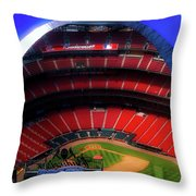 Busch Stadium A Zoomed View From The Arch Merged Image Throw Pillow