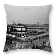 Busch Stadium From The East Garage Black And White Throw Pillow