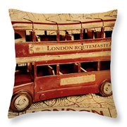 Buses Of Vintage England Throw Pillow