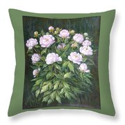 Bush Of Pink Peonies Throw Pillow
