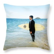 Business Man At The Beach With Surfboard Throw Pillow