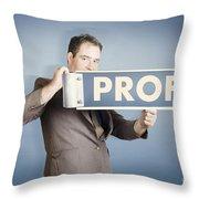 Business Man Holding Financial Profit Street Sign Throw Pillow