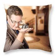 Business Man With Service Bell. Consumer Advice Throw Pillow