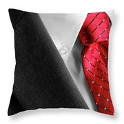 Business Suit White Shirt Red Tie Formal Wear Fashion Throw Pillow