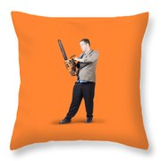 Businessman Holding Portable Chainsaw Throw Pillow