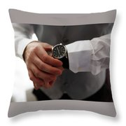 Businessman Looking At His Watch In Office Throw Pillow