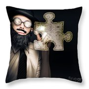 Businessman Puzzle Solving With Digital Solutions Throw Pillow