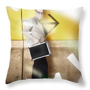 Businessman Walking In Direction Of Road Arrow Throw Pillow