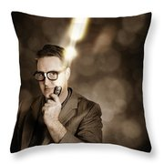 Businessman With Bright Solution Idea Throw Pillow