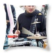 Busking Drummer Throw Pillow