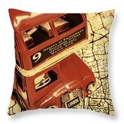 Bussing Britain Throw Pillow