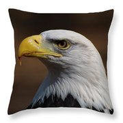 bust image of a Bald Eagle Throw Pillow