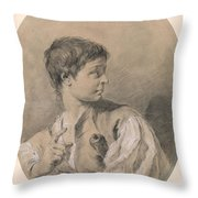 Bust Of A Boy In Profile Holding A Sword Throw Pillow