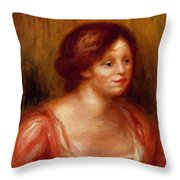 Bust Of A Woman In A Red Blouse Throw Pillow