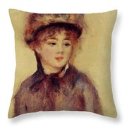 Bust Of A Woman Wearing A Hat 1881 Throw Pillow