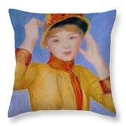 Bust Of A Woman Yellow Dress Throw Pillow