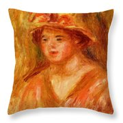 Bust Of A Young Girl In A Straw Hat 1917 Throw Pillow