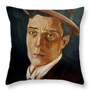 Buster Keaton Tribute Throw Pillow