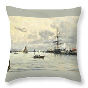 Bustling Activity In A Normandy Port Throw Pillow