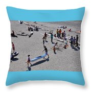 Busy Beach Throw Pillow