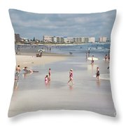 Busy Beach Day Throw Pillow