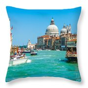 Busy Canal Grande In Venice Throw Pillow