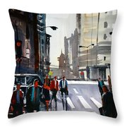 Busy City - Chicago Throw Pillow