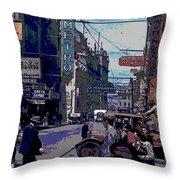 Busy  City Street Throw Pillow