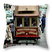 Busy Day On The California Street Cable Car Incline Throw Pillow