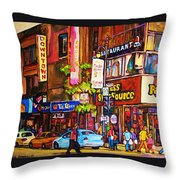 Busy Downtown Street Throw Pillow