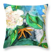 Busy Gardenias Throw Pillow