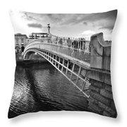 Busy Ha'penny Bridge 2 Bw Throw Pillow