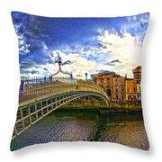 Busy Ha'penny Bridge 4 V2 Throw Pillow
