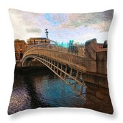 Busy Ha'penny Bridge  Throw Pillow