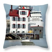 Busy Harbor Of Lorain Throw Pillow