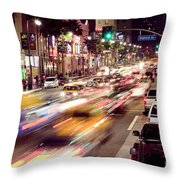 Busy Hollywood Boulevard At Night Throw Pillow by Bryan Mullennix
