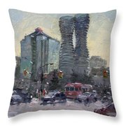 Busy Morning In Downtown Mississauga Throw Pillow