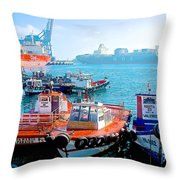 Busy Port Of Valparaiso-chile Throw Pillow