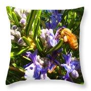 Busy Rosemary Honeybee Throw Pillow