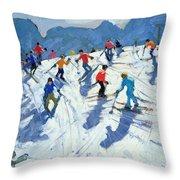 Busy Ski Slope Throw Pillow