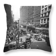 Busy State Street In Chicago Throw Pillow