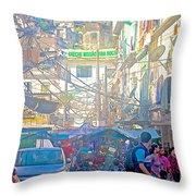 Busy Street In Central Marketplace In Rocinha Favela In Rio De Janeiro-brazil  Throw Pillow