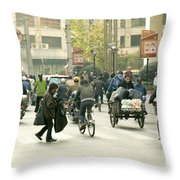 Busy Street, Shanghai Throw Pillow