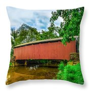Butchers Mill Covered Bridge Throw Pillow