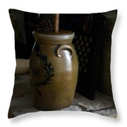 Butter Churn On Hearth Still Life Throw Pillow