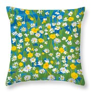Buttercups And Daisies Throw Pillow