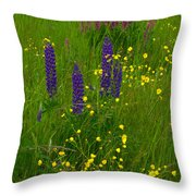 Buttercups And Lupines Throw Pillow