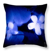 Buttercups In White Blue And Black Throw Pillow
