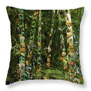 Butterflies And Bamboo Throw Pillow